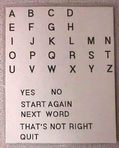 an alphabet board