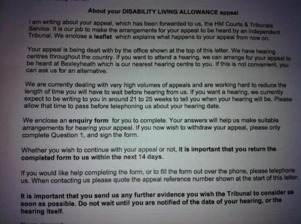 DLA appeal to use