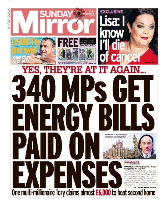 House of shame our corrupt mp s get energy bills paid for for Sunday mirror