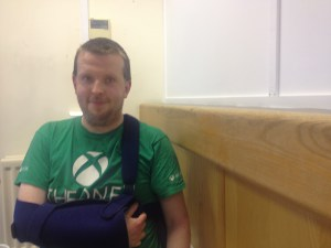 Mark Bothwell. Still in pain and waiting for the outcome of his employment and support allowance application.