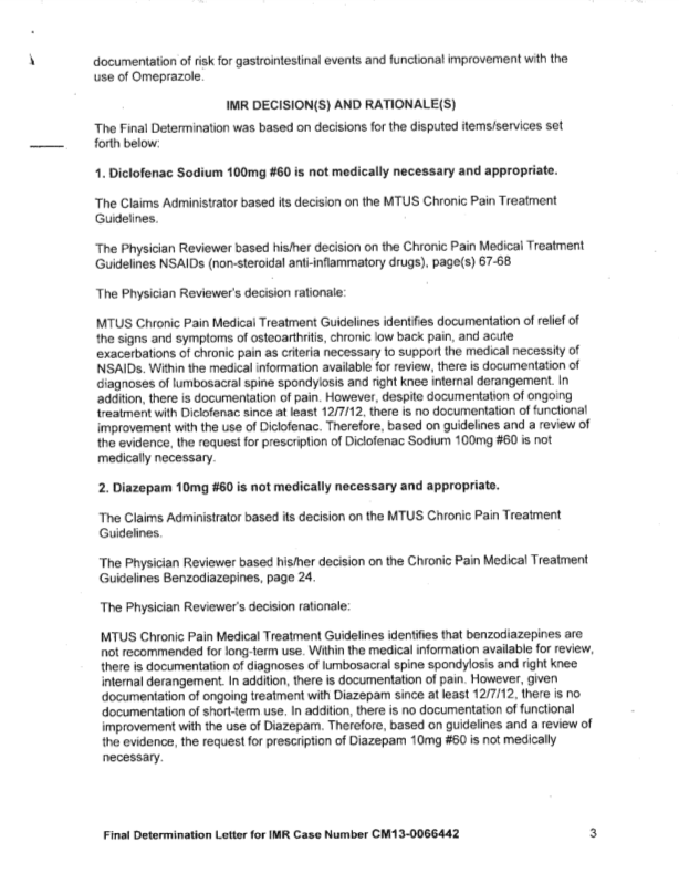 sample imr determination page 3 - Sample Letter Of Appeal For Reconsideration