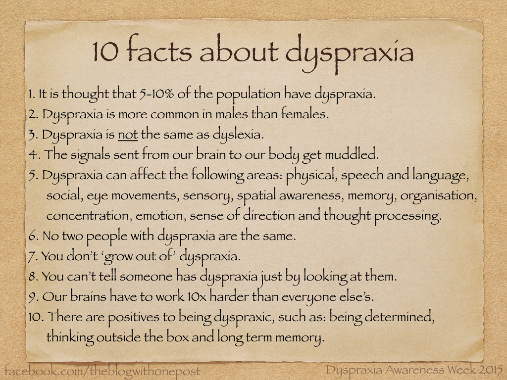 dyspraxia and writing Dyspraxia problems with movement and coordination, language and speech a disorder that is characterized by difficulty in muscle control, which causes problems with movement and coordination, language and speech, and can affect learning.