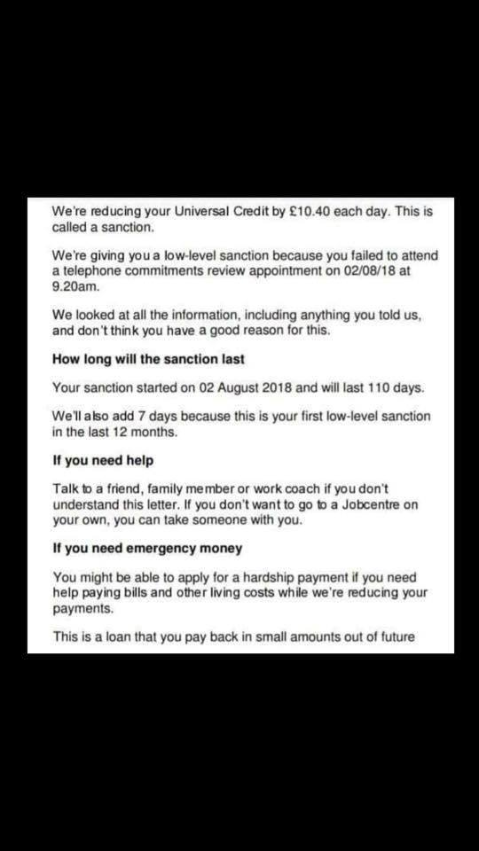 Sanctioned For 118 Days- For Not Answering The DWP's Phone